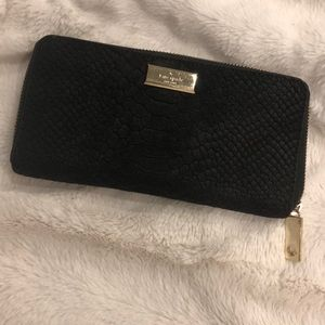 Kate Spade suede snakeskin zip-around wallet